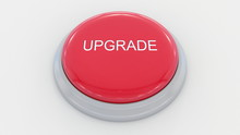 Big Red Button With Upgrade Inscription. Conceptual 3D Rendering