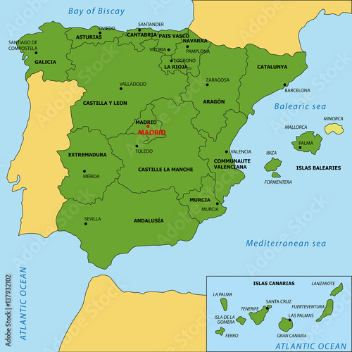 Photo  Map of Spain with regions and their capitals