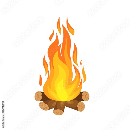 Fotografie, Obraz vector illustration of  burning bonfire with wood on white background