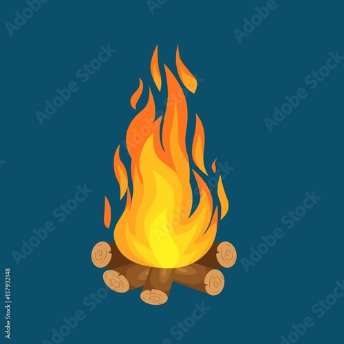 Fototapeta vector illustration of  burning bonfire with wood on white background