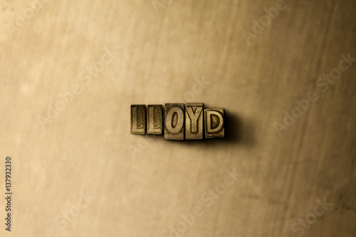 LLOYD - close-up of grungy vintage typeset word on metal backdrop Canvas Print
