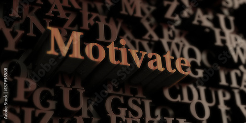 Fotografía  Motivate - Wooden 3D rendered letters/message