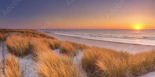 Dunes and beach at sunset on Texel island, The Netherlands