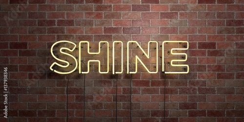 Fotografia  SHINE - fluorescent Neon tube Sign on brickwork - Front view - 3D rendered royalty free stock picture