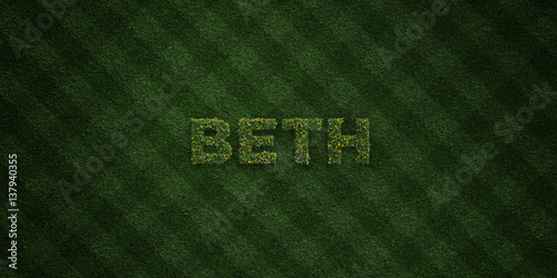 Photo  BETH - fresh Grass letters with flowers and dandelions - 3D rendered royalty free stock image
