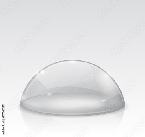 Fotografia  Transparent white dome, glass semi-sphere