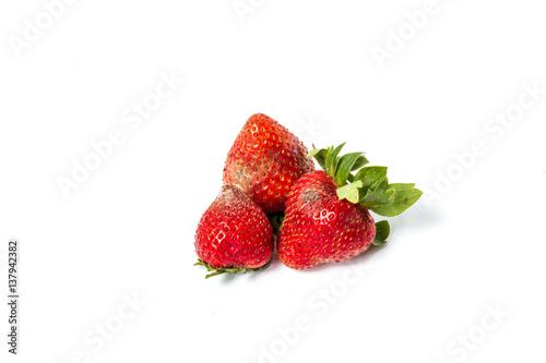 Red ripe strawberries rotten, which have a white mold, small depth of field Canvas-taulu