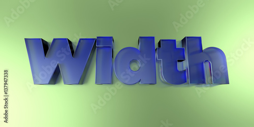 Fotografering  Width - colorful glass text on vibrant background - 3D rendered royalty free stock image