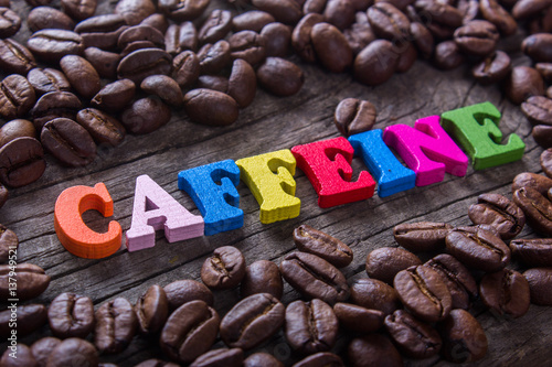Photo word caffeine and coffee beans