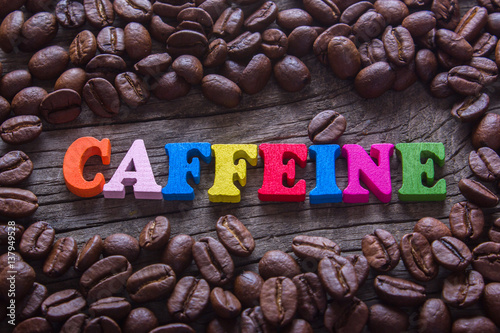 Canvas word caffeine and coffee beans
