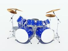 Blue Drum Kit On A White Background. . 3D Render