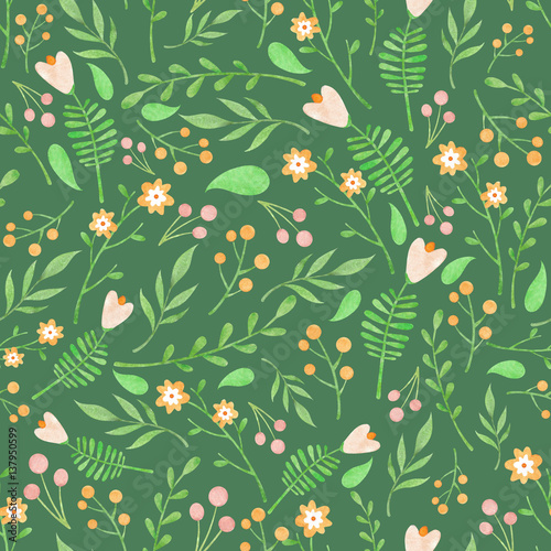 Cotton fabric Watercolor floral pattern with orange and light pink flowers berries and green leaves on deep green background