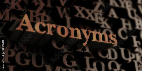 Acronyms - Wooden 3D rendered letters/message Canvas Print