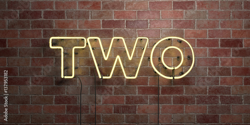 TWO - fluorescent Neon tube Sign on brickwork - Front view - 3D rendered royalty free stock picture. Can be used for online banner ads and direct mailers..