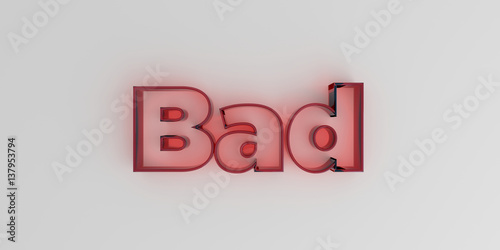 Fotografie, Obraz  Bad - Red glass text on white background - 3D rendered royalty free stock image