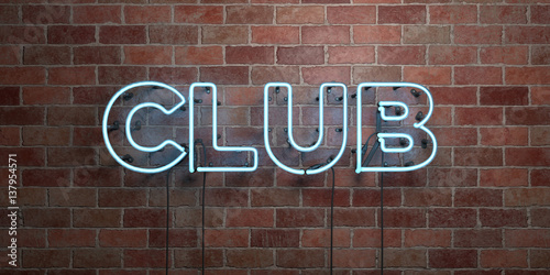 Fotografie, Obraz  CLUB - fluorescent Neon tube Sign on brickwork - Front view - 3D rendered royalty free stock picture