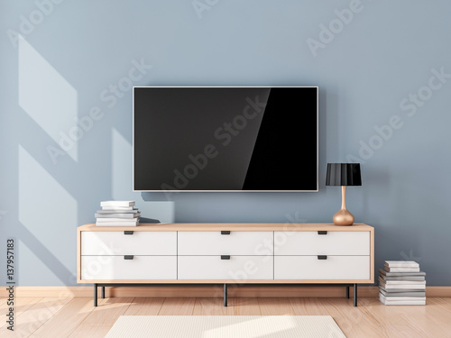 Fotografía  Smart Tv Mockup with blank screen hanging on the wall in modern living room