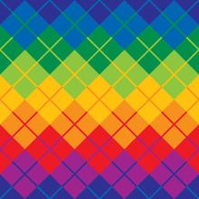 Rainbow Argyle Pattern Repeats Seamlessly.