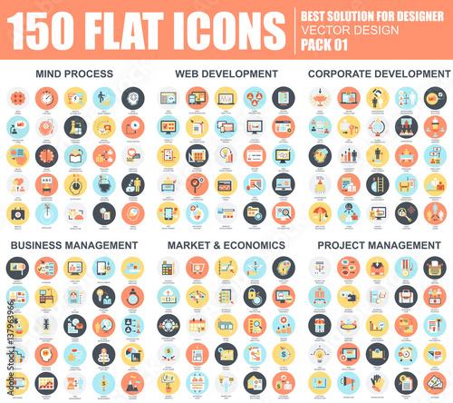 Obraz Business flat icons set - fototapety do salonu