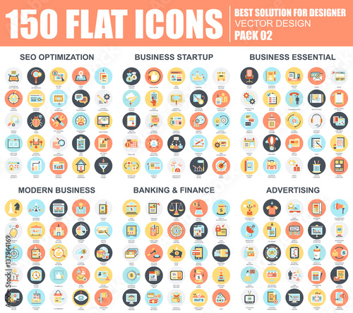 Business flat icons set Wall mural