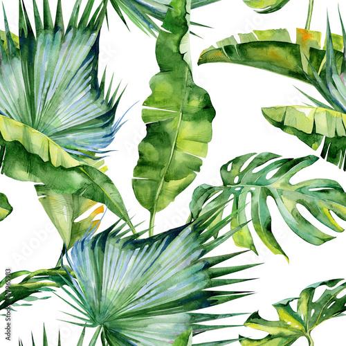 bezszwowa-akwareli-ilustracja-tropikalni-liscie-gesta-dzungla-wzor-z-tropikalnym-motywem-letnim-moze-sluzyc-jako-tekstura-tla