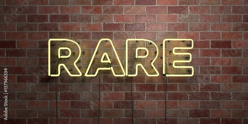 Fotografie, Obraz  RARE - fluorescent Neon tube Sign on brickwork - Front view - 3D rendered royalty free stock picture
