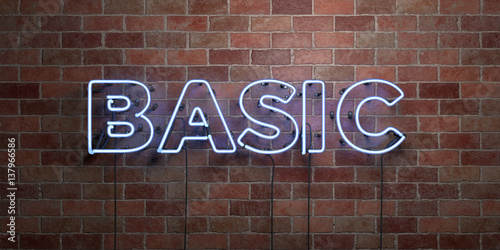 Fotografie, Obraz  BASIC - fluorescent Neon tube Sign on brickwork - Front view - 3D rendered royalty free stock picture