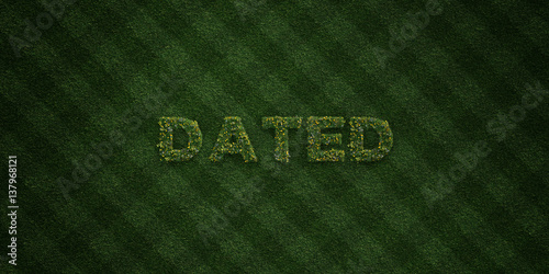 Fotografia, Obraz  DATED - fresh Grass letters with flowers and dandelions - 3D rendered royalty free stock image