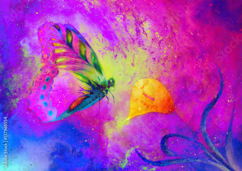 Foto op Aluminium Vlinders in Grunge flying butterfly with cala flower in cosmic space. Painting with graphic design.