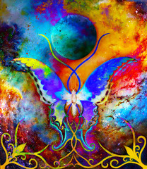 Fototapetabutterfly in cosmic space and moon with ornament. Painting and graphic design.