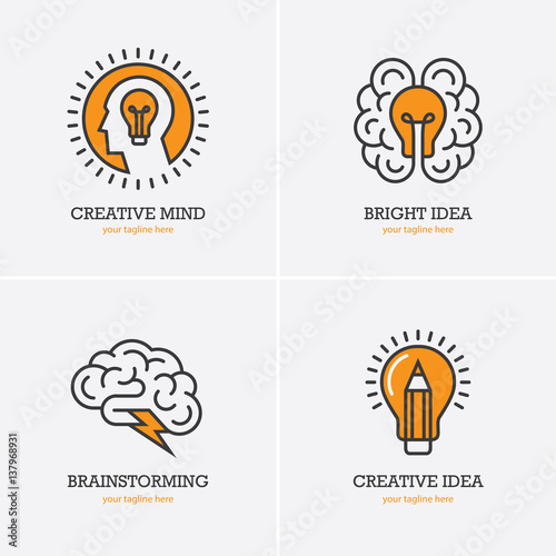 Photo  Four icons with human head, brain and light bulb