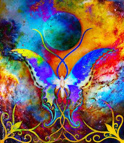 butterfly-in-cosmic-space-and-moon