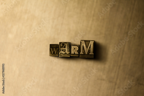 Fotografie, Obraz  WARM - close-up of grungy vintage typeset word on metal backdrop