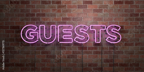 Stampa su Tela GUESTS - fluorescent Neon tube Sign on brickwork - Front view - 3D rendered royalty free stock picture