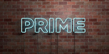 PRIME - Fluorescent Neon Tube Sign On Brickwork - Front View - 3D Rendered Royalty Free Stock Picture. Can Be Used For Online Banner Ads And Direct Mailers..