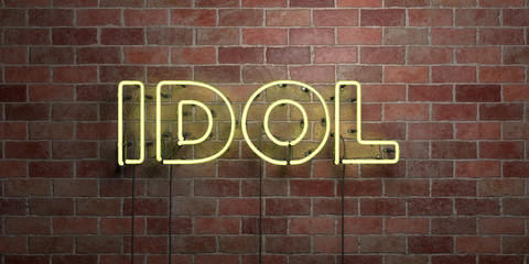 IDOL - fluorescent Neon tube Sign on brickwork - Front view - 3D rendered roy...