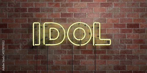 Obraz IDOL - fluorescent Neon tube Sign on brickwork - Front view - 3D rendered royalty free stock picture. Can be used for online banner ads and direct mailers.. - fototapety do salonu