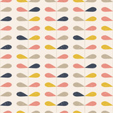Vector retro style  pattern with stylized twigs and leaves in pastel colors. - 137971167
