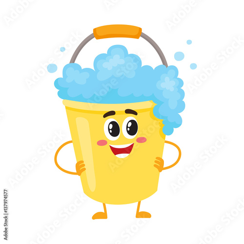 Funny soap foam bucket character with smiling human face