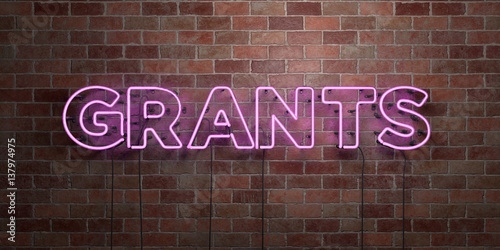 Fotografía  GRANTS - fluorescent Neon tube Sign on brickwork - Front view - 3D rendered royalty free stock picture