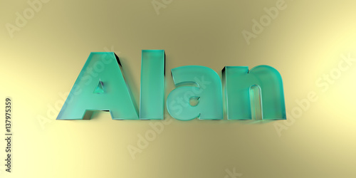 Alan - colorful glass text on vibrant background - 3D rendered royalty free stock image Poster