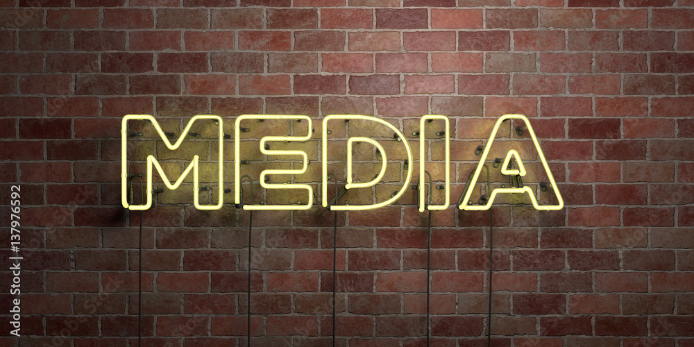 Fototapety, obrazy: MEDIA - fluorescent Neon tube Sign on brickwork - Front view - 3D rendered royalty free stock picture. Can be used for online banner ads and direct mailers..