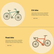 Citi Bike, Road Bike Vector Icons. Vintage Color.