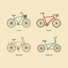 Citi Bike, Road Bike, Trekking Bike, Freestyle Bike Vector Icons. Vintage Color Elements.