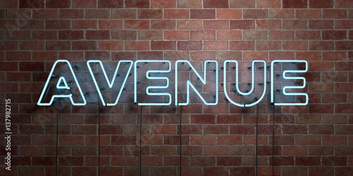 Photo  AVENUE - fluorescent Neon tube Sign on brickwork - Front view - 3D rendered royalty free stock picture