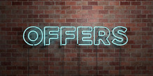 OFFERS - Fluorescent Neon Tube Sign On Brickwork - Front View - 3D Rendered Royalty Free Stock Picture. Can Be Used For Online Banner Ads And Direct Mailers..