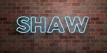SHAW - Fluorescent Neon Tube Sign On Brickwork - Front View - 3D Rendered Royalty Free Stock Picture. Can Be Used For Online Banner Ads And Direct Mailers..