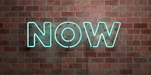 NOW - Fluorescent Neon Tube Sign On Brickwork - Front View - 3D Rendered Royalty Free Stock Picture. Can Be Used For Online Banner Ads And Direct Mailers..