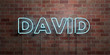 canvas print picture - DAVID - fluorescent Neon tube Sign on brickwork - Front view - 3D rendered royalty free stock picture. Can be used for online banner ads and direct mailers..