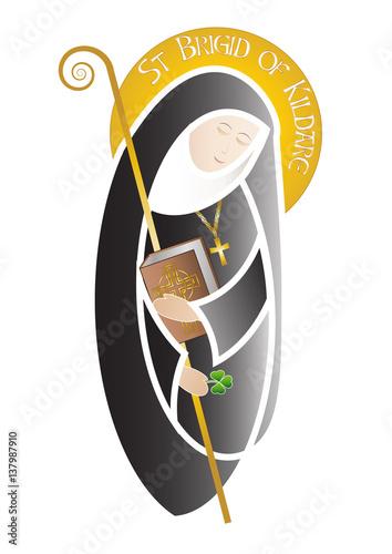 St Brigid of Kildare, patron saint of Ireland and monastic life Canvas Print